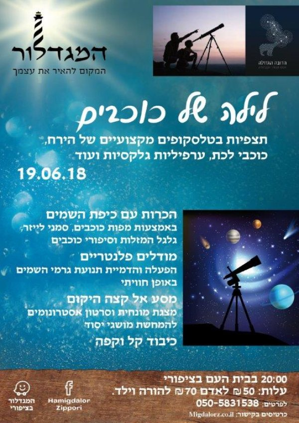 ערב אסטרונומיה וחלל במגדלור בציפורי