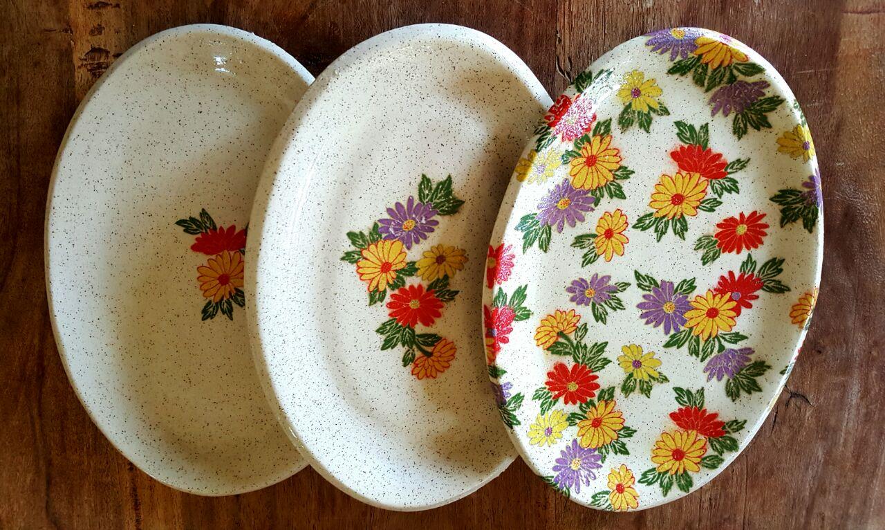 אמנות בקרמיקה - צלחות מעוטרות פרחים - רוית שניר