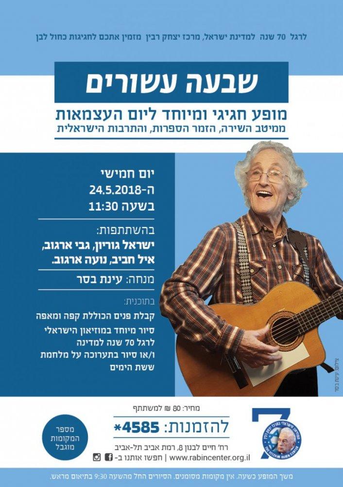 70 שנה למדינה - מופע יחודי במוזיאון הישראלי במרכז יצחק רבין- האירוע פתוח לציבור