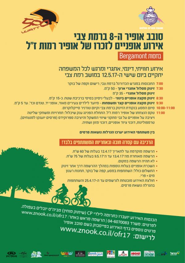 אירוע האופניים ותרומה לקהילה סובב אופיר 8 ברמת צבי 12.5.17 הזמנה