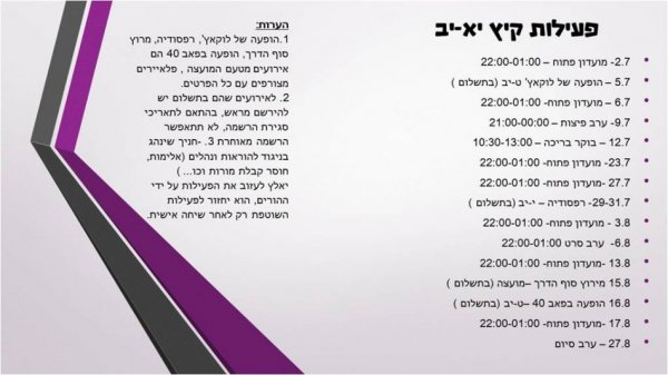 פעילות קיץ שכבות י׳׳א-י׳׳ב