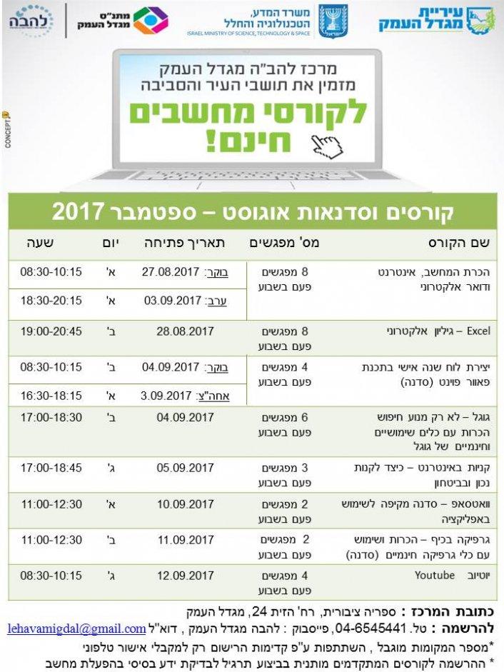 """קורסים וסדנאות מחשבים אוגוסט - ספטמבר 2017 במרכז להב""""ה מגדל העמק"""