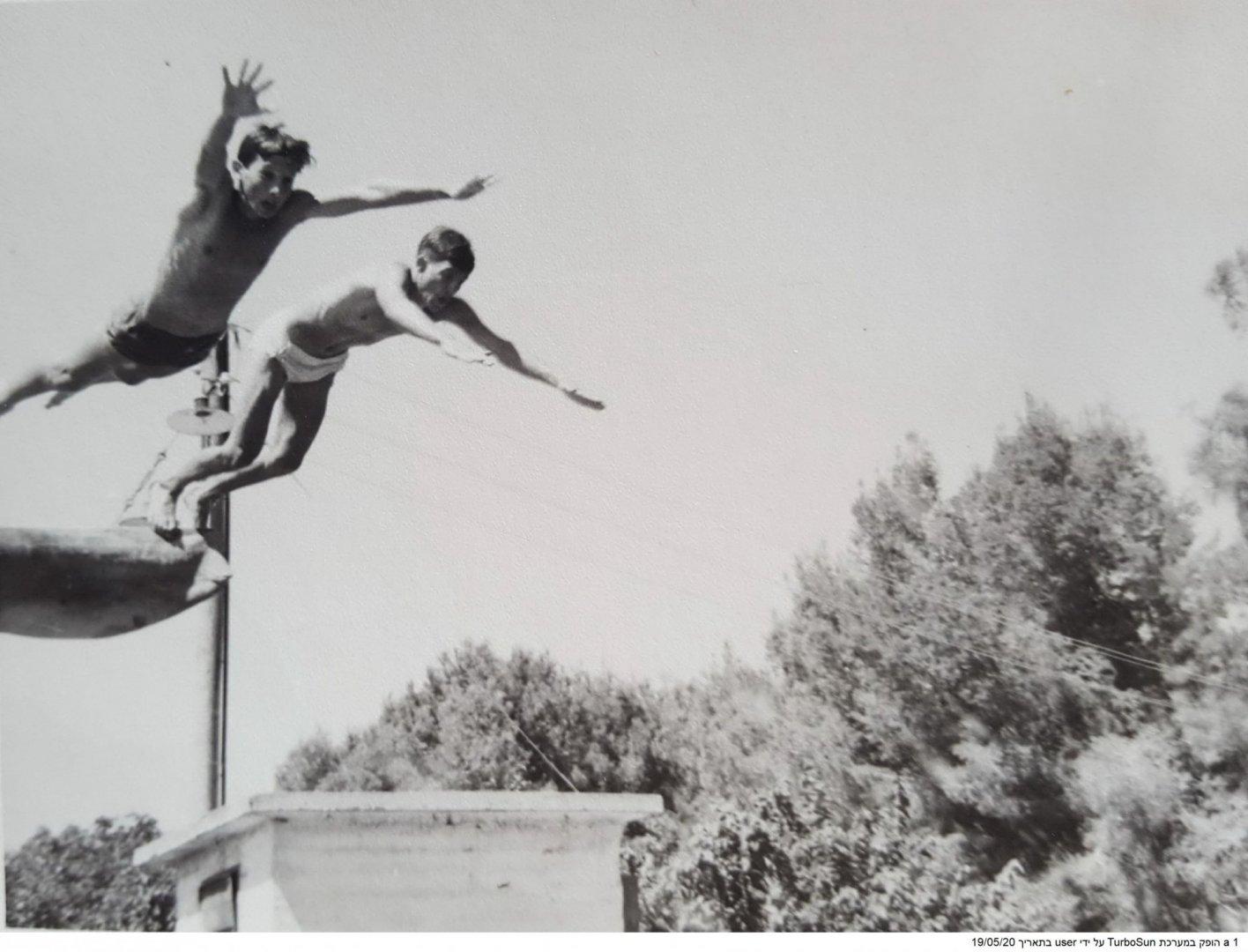 1 בבריכה בנהלל 1963 אהרון דיין ושאול אלקנה jpg