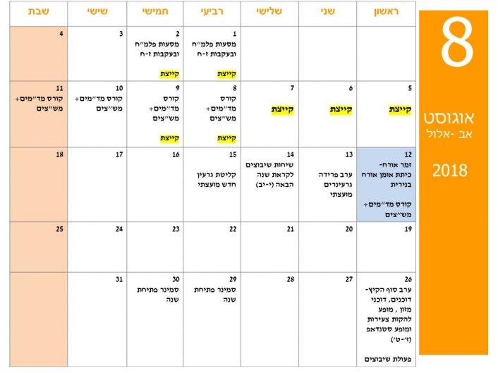 """לו""""ז חודשי פעילויות תנועת הנוער בנירית"""