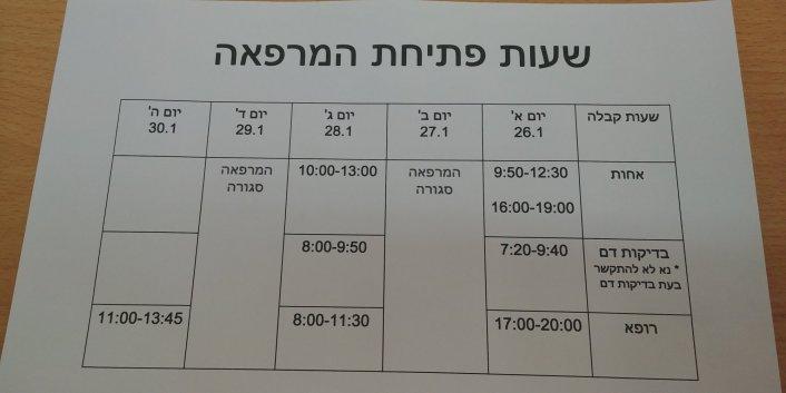 שעות פתיחת המרפאה בשבוע הבא
