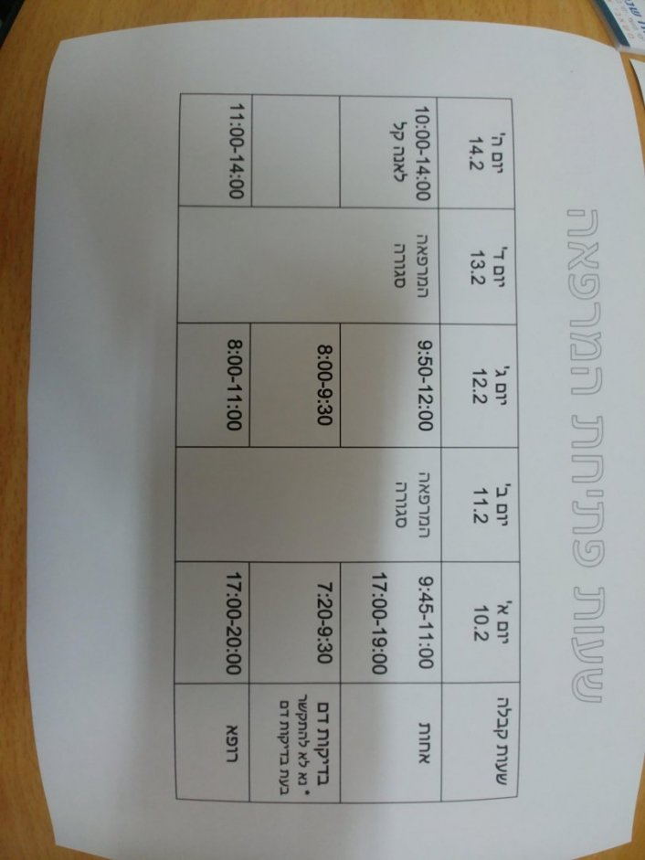 שעות פתיחת המרפאה בין התאריכים 14.2-22.2