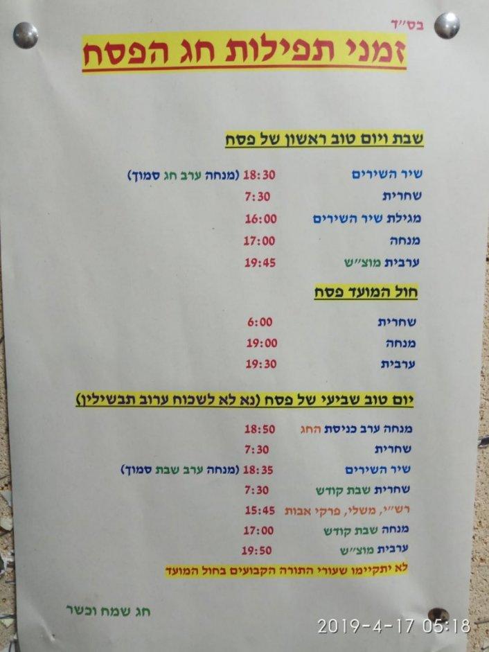 זמניי התפילות בחג הפסח - בית הכנסת