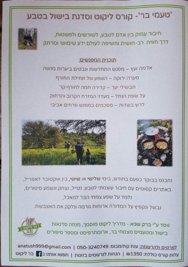 הזמנה לסדנאות ליקוט צמחי בר