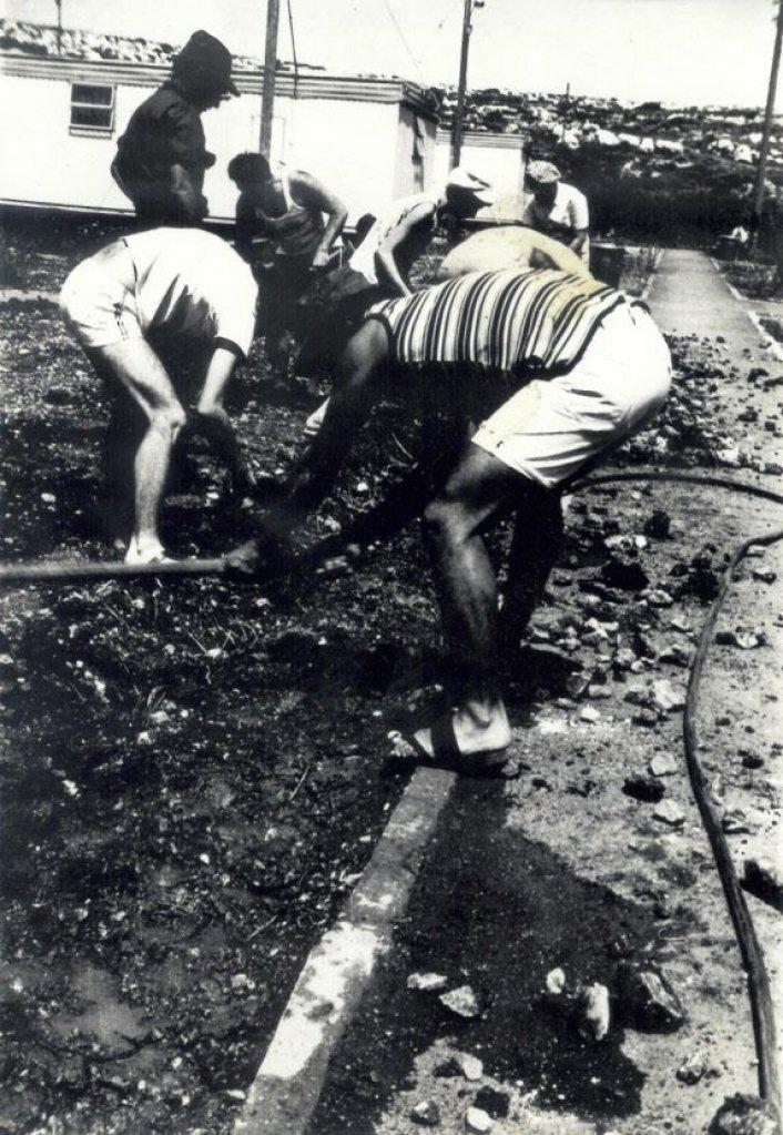 1974 - מכינים את השטח לדשא המרכזי, ומי מזהה את המבקרים החשובים והמארח?