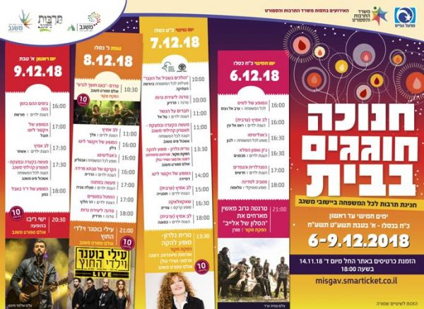 פסטיבל חנוכה תשעט ׳׳חנוכה חוגגים בבית׳׳ - הכנסו והזמינו כרטיסים לפני שיגמרו